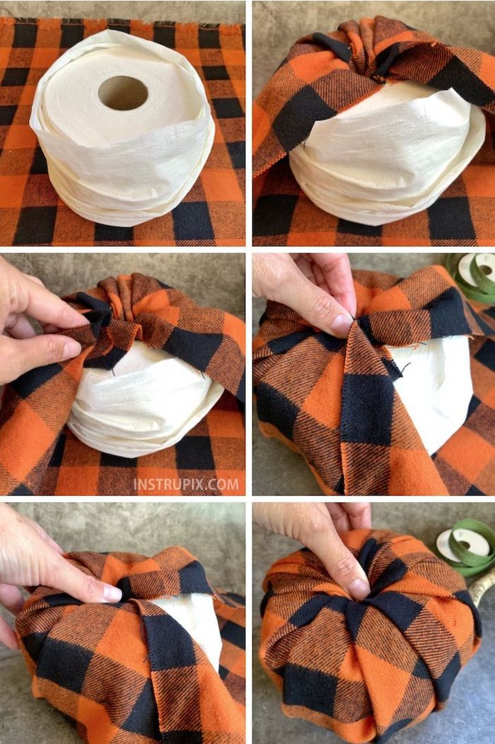 step by step, diy tutorial, photo collage, fall decor, toilet paper roll, turned into a pumpkin, with table cloth