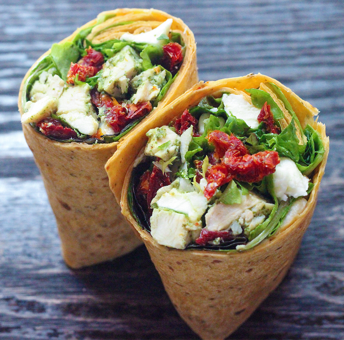 tortilla wraps, with chicken cubes, green salad, salsa inside, best diet for fat loss, wooden table