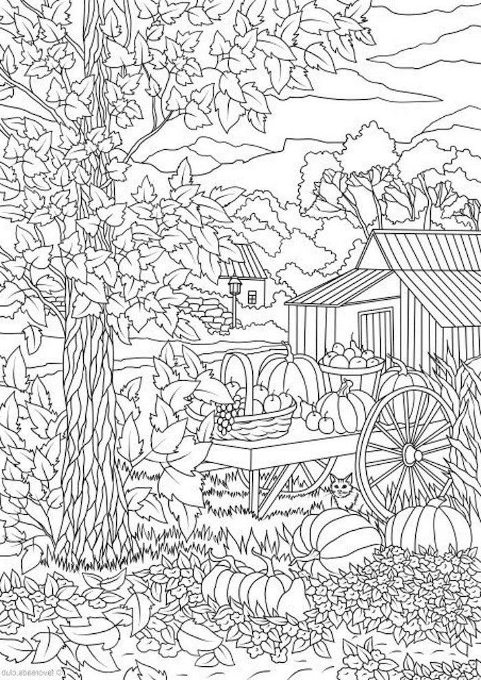 houses and trees, thanksgiving pictures to color, fall leaves, pumpkins and pears, baskets of fruits