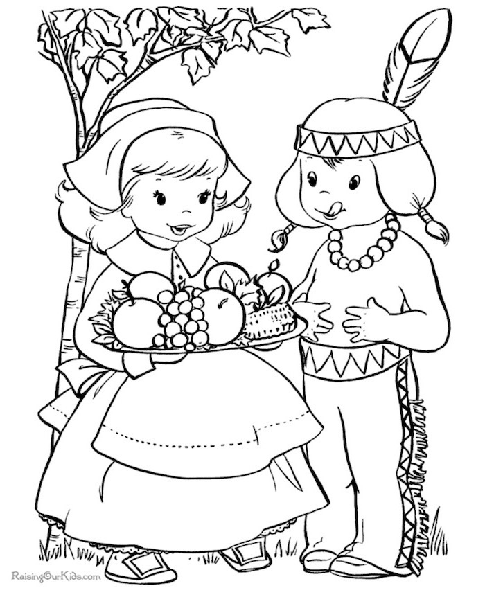 boy and girl, holding a tray full of fruits, standing under a tree, thanksgiving coloring sheets