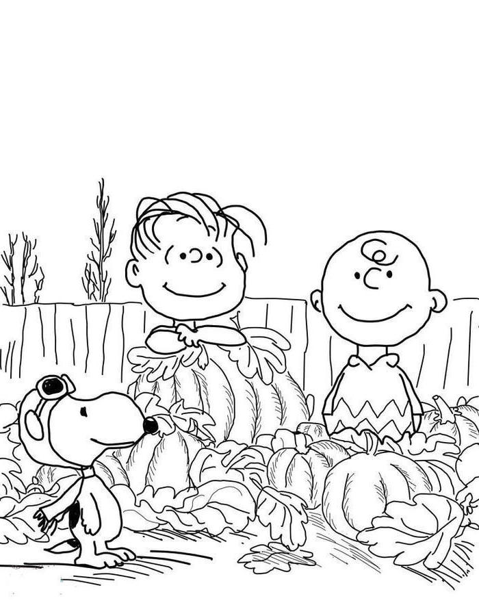 charlie brown and snoopy, turkey coloring sheet, playing in a pumpkin patch, fall leaves