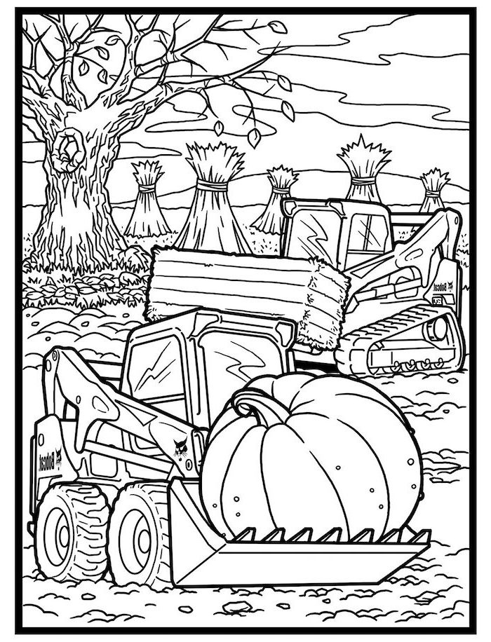 big tractors, harvesting pumpkins, turkey coloring sheet, bails of hay, tall tree, fall leaves