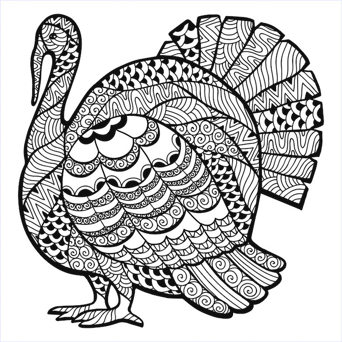 turkey with floral motifs, free printable thanksgiving coloring pages, black and white sketch