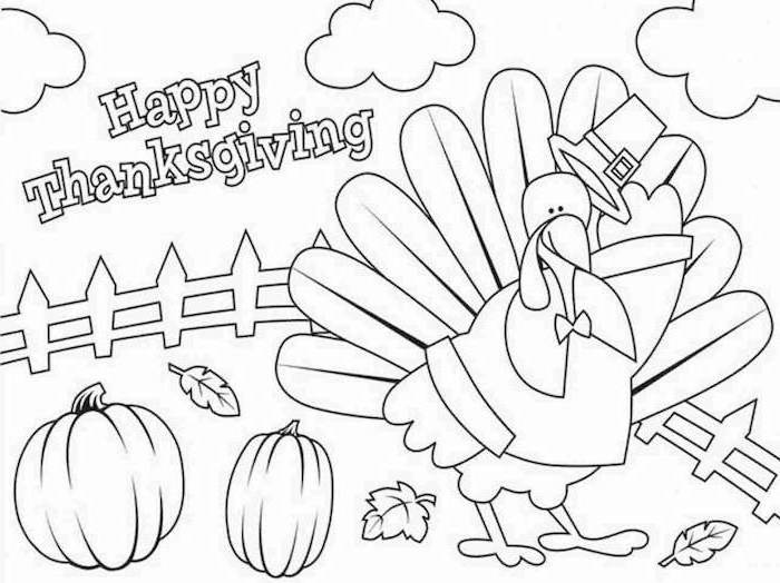 happy thanksgiving, free printable thanksgiving coloring pages, turkey with a hat, pumpkins and fall leaves