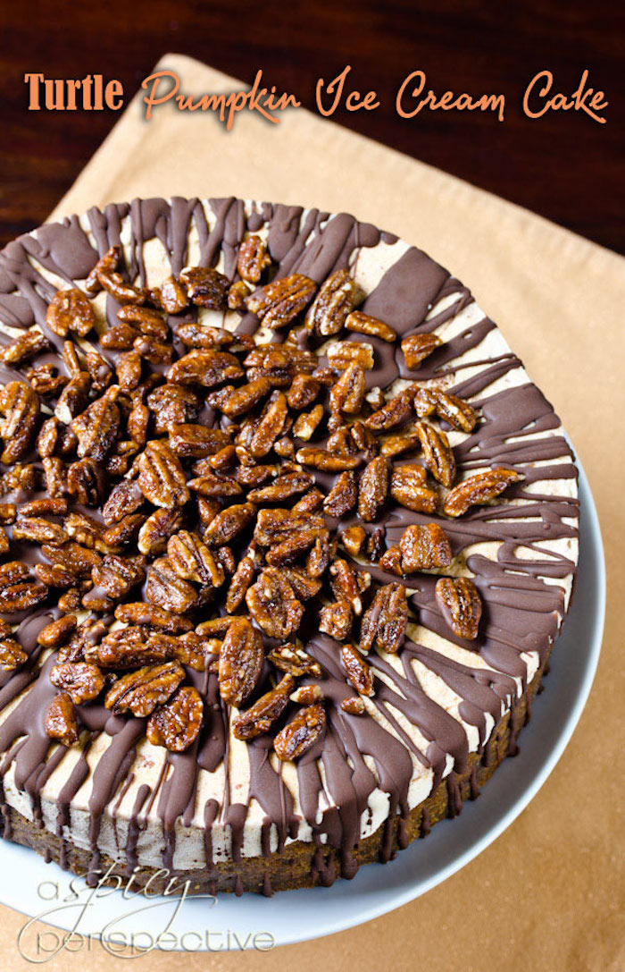 turtle pumpkin ice cream cake, chocolate and walnuts on top, best thanksgiving desserts, white cake stand