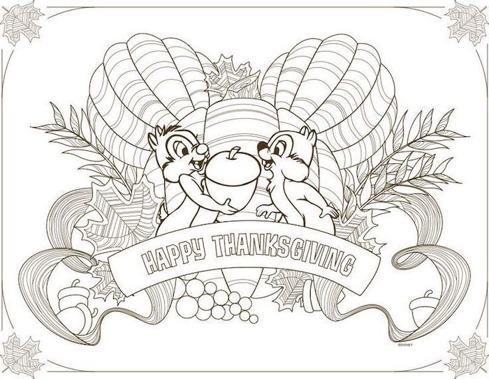 happy thanksgiving, two squirrels, holding an acorn, free printable thanksgiving coloring pages, pumpkins and grapes
