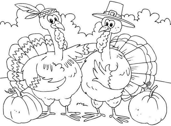 two turkeys, with hats, free printable thanksgiving coloring pages, standing next to pumpkins