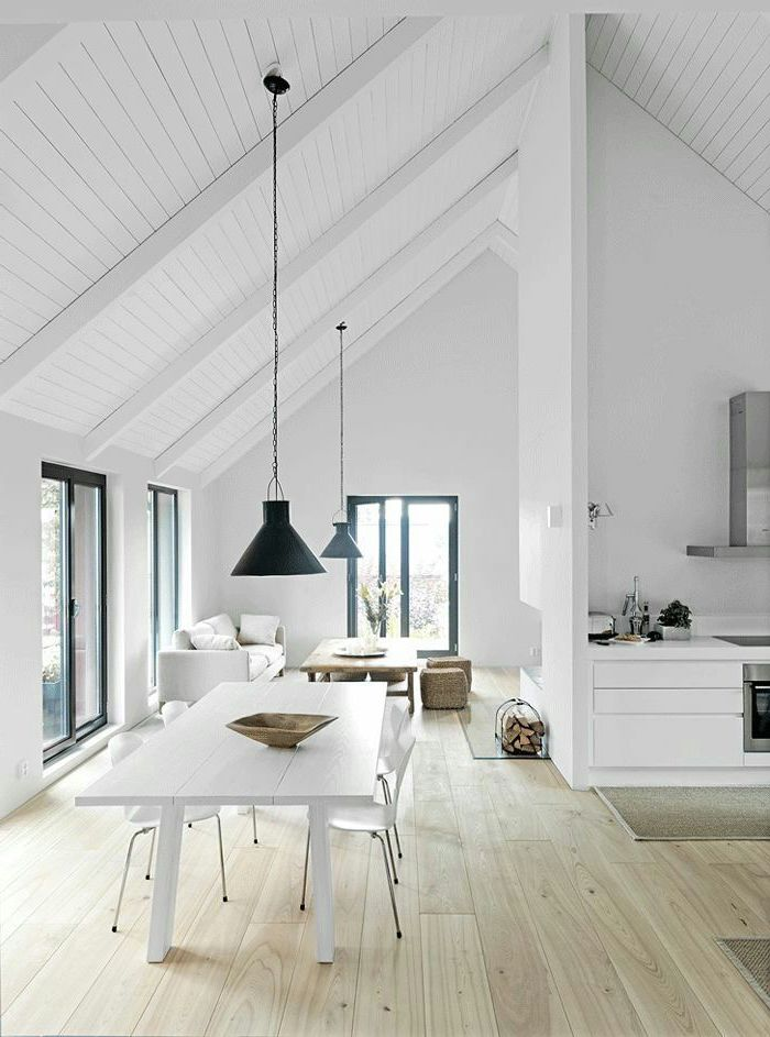 white aesthetic, wooden floor, white wall, vaulted ceiling kitchen, black lamp shades, hanging from white ceiling
