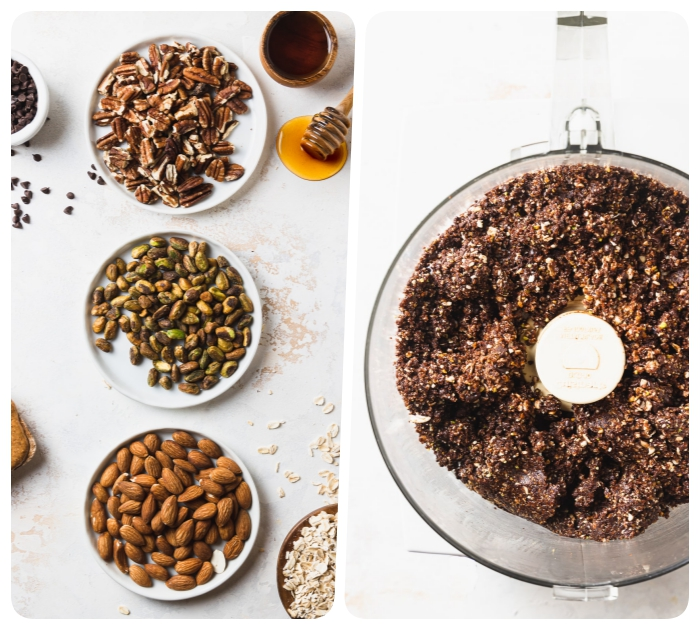 side by side photos, peanut butter energy balls, different nuts, in white plates, blended together