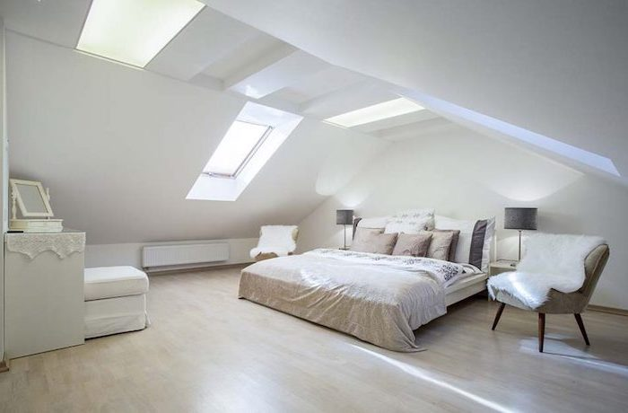 wooden floor, white walls, white ceiling with skylights, vaulted vs cathedral ceiling, white ottoman