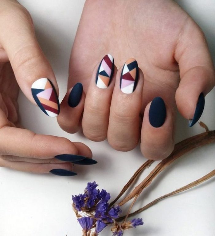 dark blue, purple and pink, nude and white, matte nail polish, geometrical design, nail decorations, september nail colors