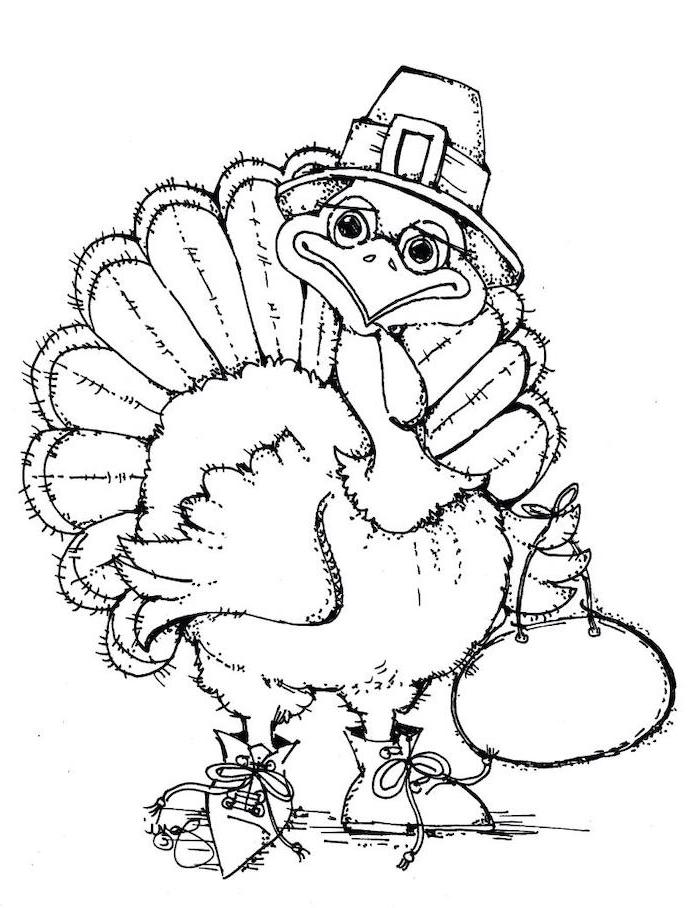 turkey with a hat, bag and shoes, free printable thanksgiving coloring pages, black and white sketch