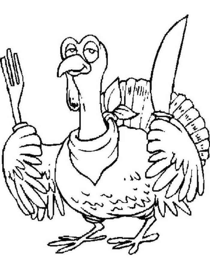 happy thanksgiving coloring pages, turkey with a bib, holding a fork and knife, black and white sketch