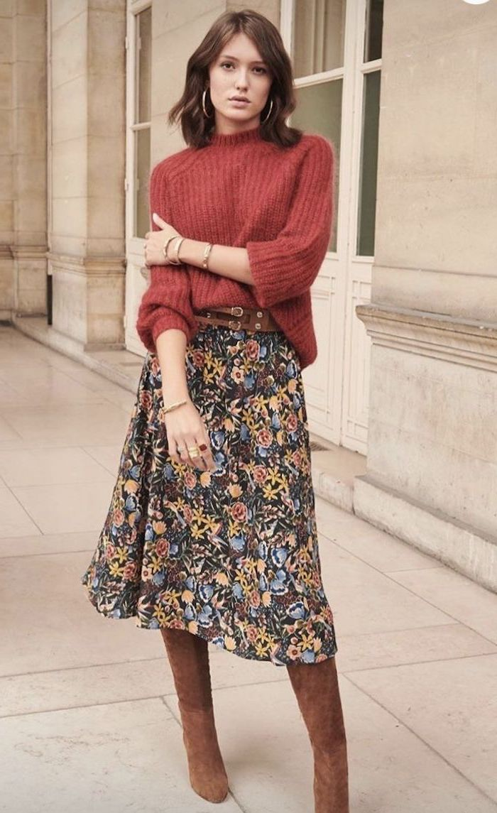 woman wearing floral skirt, red sweater and brown velvet boots, medium hairstyles 2019, brown wavy hair