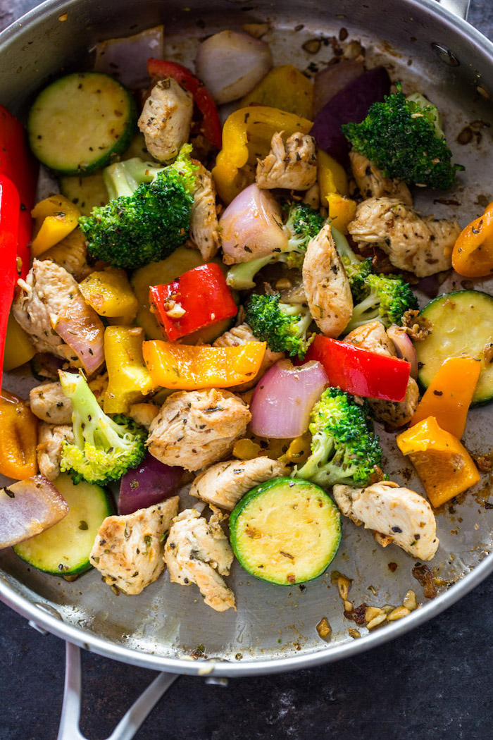zucchini burritos, chicken and broccoli, chopped peppers, foods to avoid to lose weight, in a skillet
