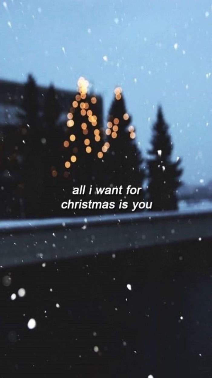 all i want for christmas is you, free desktop wallpaper, trees in the background, decorated with lights, snow falling