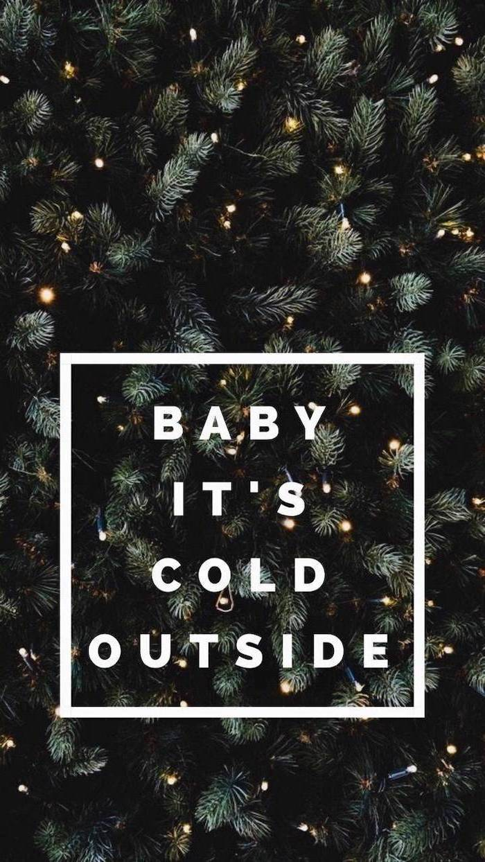 baby it's cold outside, written over a tree, decorated with lights, free desktop wallpaper
