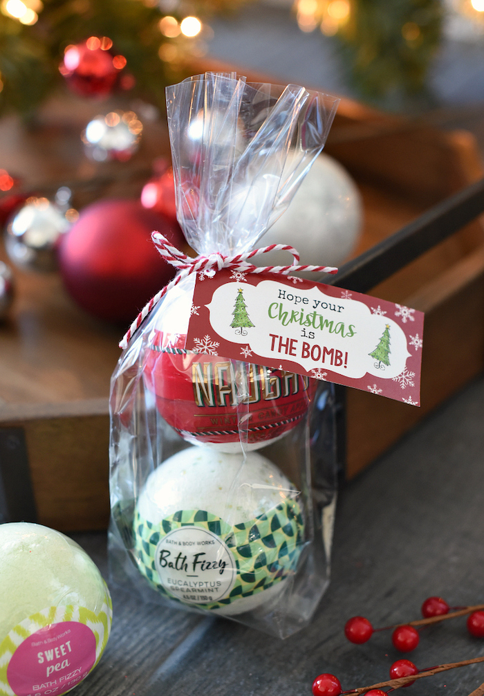 christmas gifts for mom, set of two bath boms, hope your christmas is the bomb, placed in a small bag with a ribbon