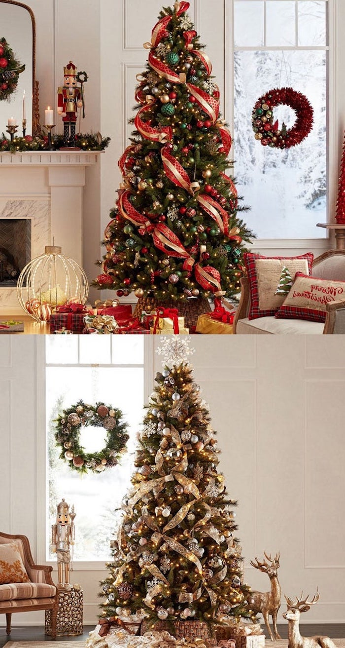 two photos of decorated christmas trees, how to decorate a christmas tree, trees with gold red and green ornaments