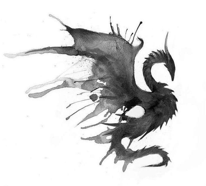 watercolor drawing of a flying dragon, on white background, dragon tattoo