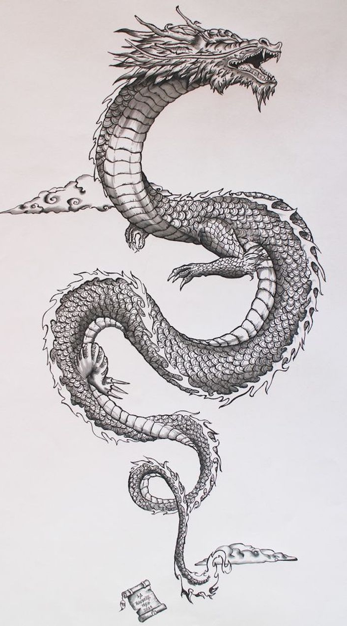 black and white pencil sketch, of a large dragon flying in the air, dragon tattoo, white background