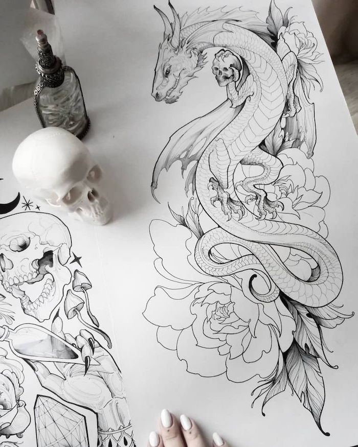 large dragon intertwined with roses, holding a skull, black and white pencil sketch, dragon back tattoo, white background
