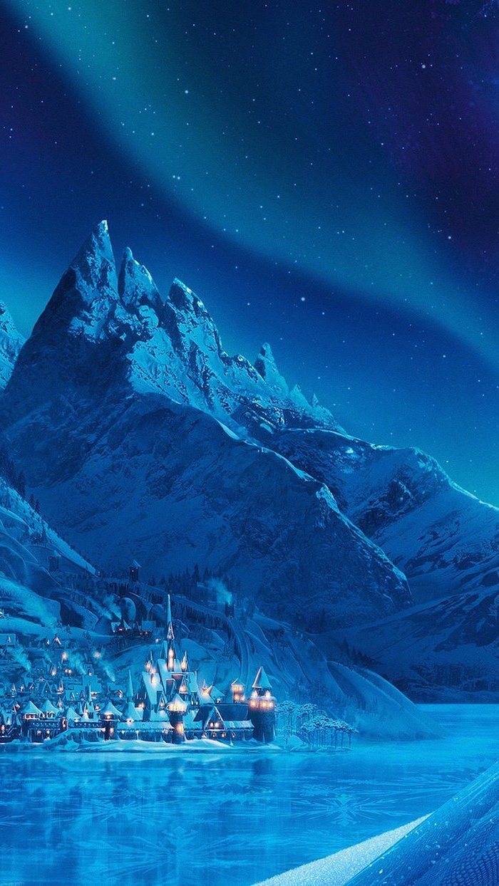 arendelle from frozen, northern lights in the sky, mountain landscape, frozen lake, free wallpapers and backgrounds