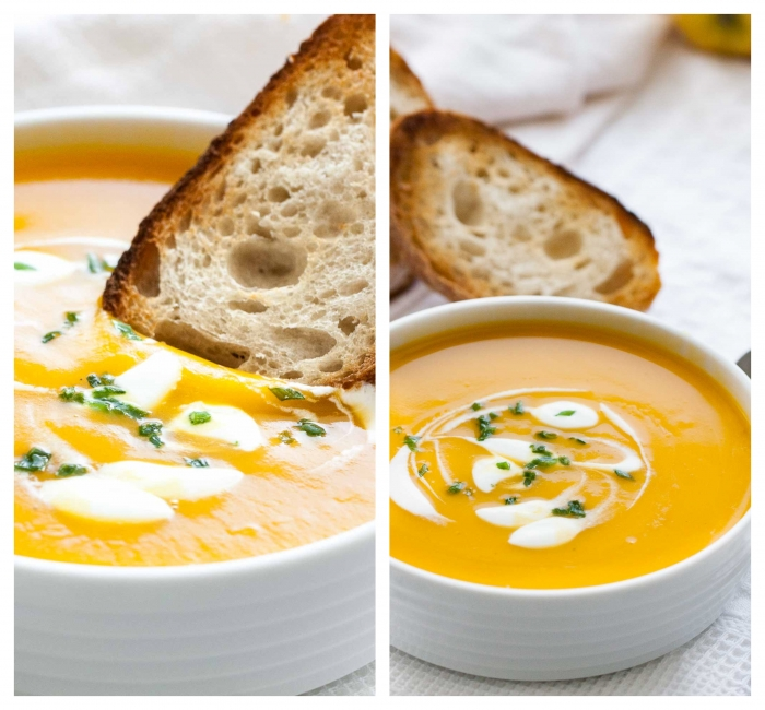 butternut squash cream soup, bread dipped in it, easy soup recipes, side by side photos, white table cloth