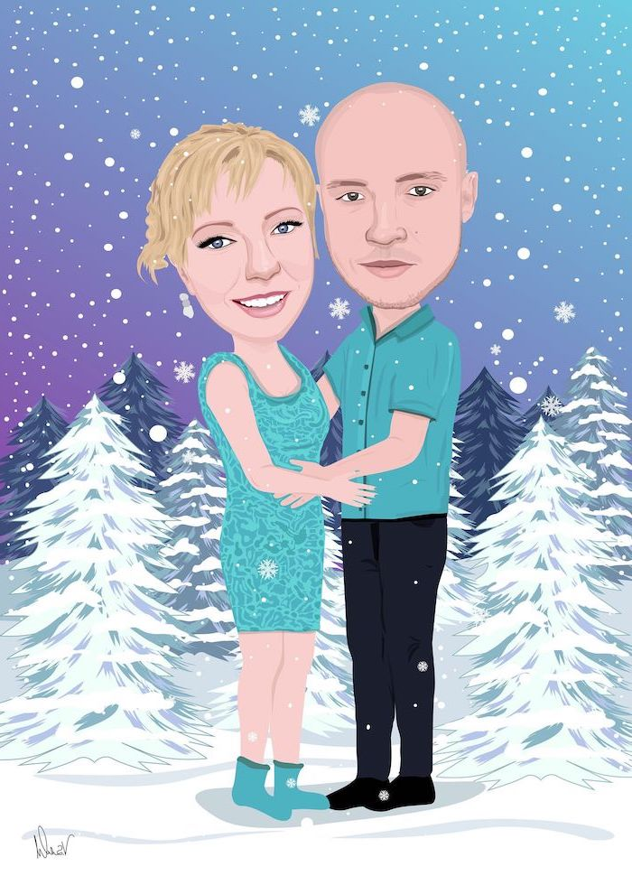 caricature of man and woman hugging, gifts for boyfriend, forest landscape behind them, snowflakes falling from the sky