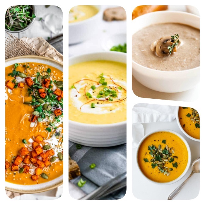 creamy soup recipes, photo collage of different soups, all in white bowls, with different garnishes