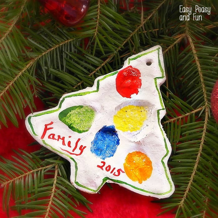 christmas tree shaped ornament, made of salt dough, preschool christmas crafts, colored fingerprints of the family