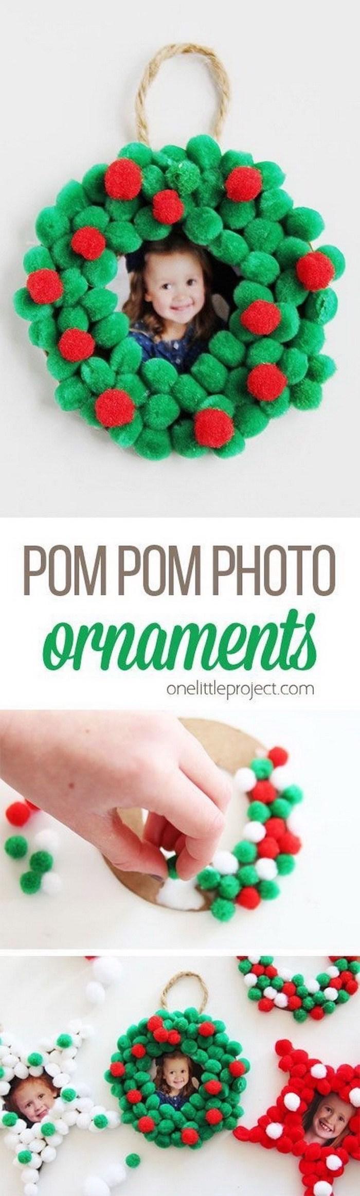pom pom photo ornaments, christmas ornaments for kids, step by step diy tutorial, photo collage