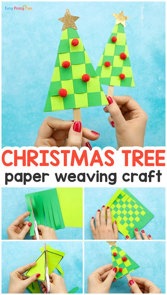 christmas tree paper weaving craft, christmas ornaments for kids, photo collage of step by step diy tutorial