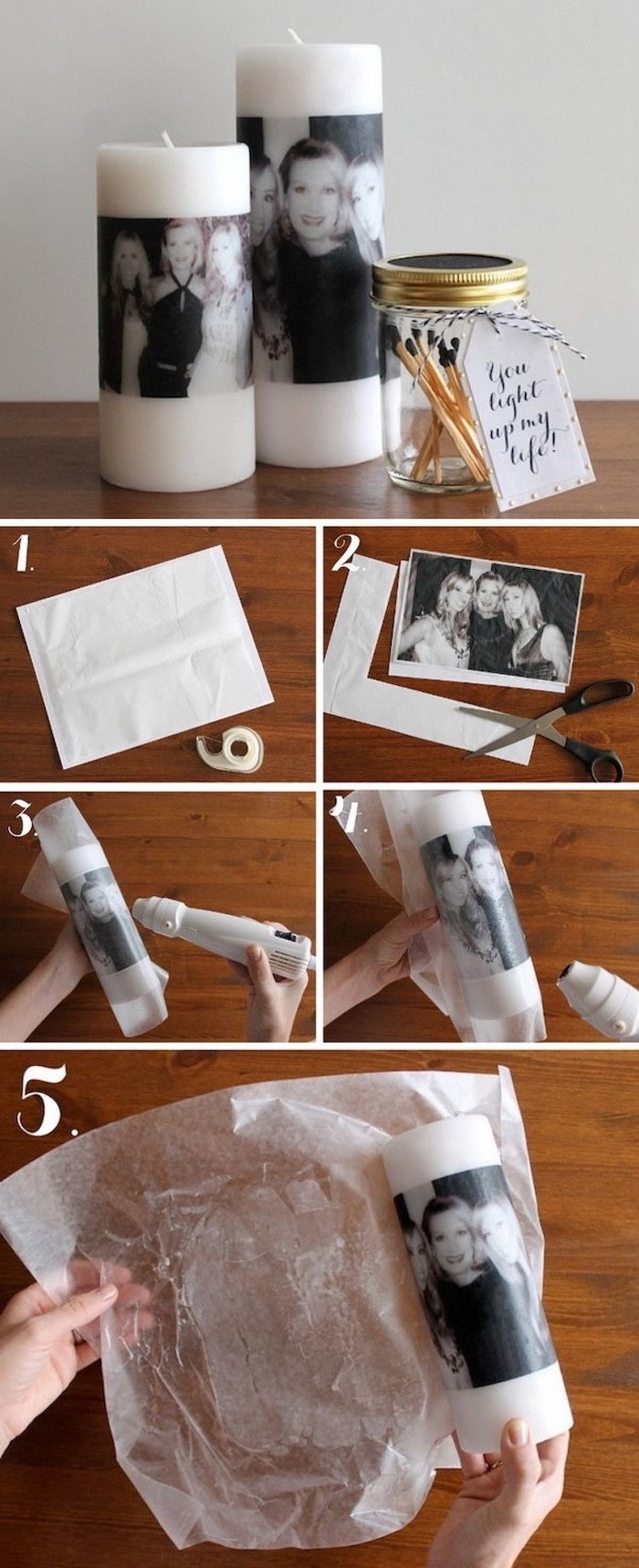 photo collage with step by step diy tutorial, how to print photos on candles, personalised gifts for mom