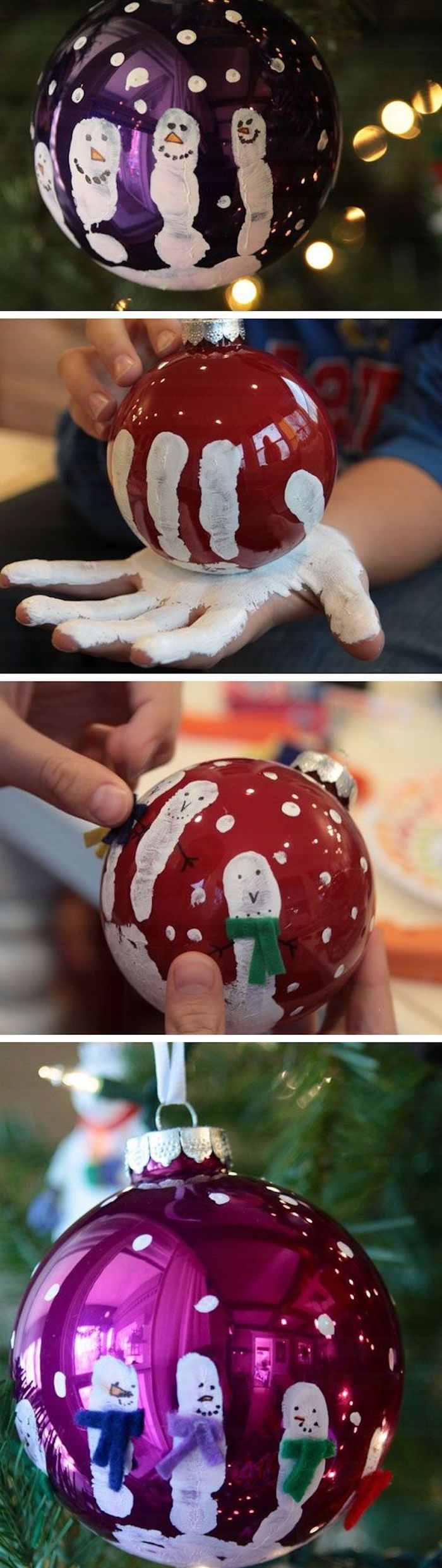 red and purple baubles, child's handprint on them, turned into snowmen with scarves, christmas ornaments for kids