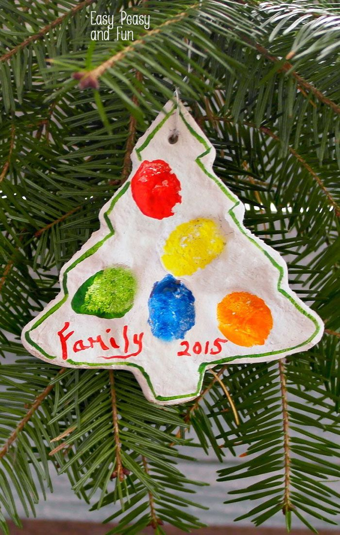 christmas tree shaped ornament, made of salt dough, colored fingerprints of the family on it, preschool christmas crafts