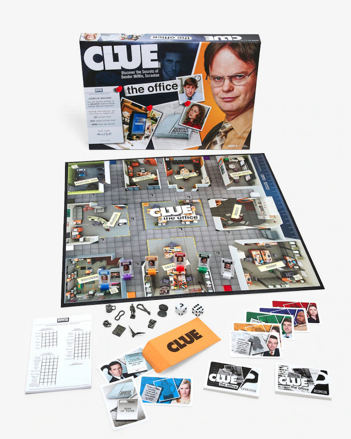 clue the office edition board game, cute gifts for boyfriend, clue with the office characters, placed on white surface