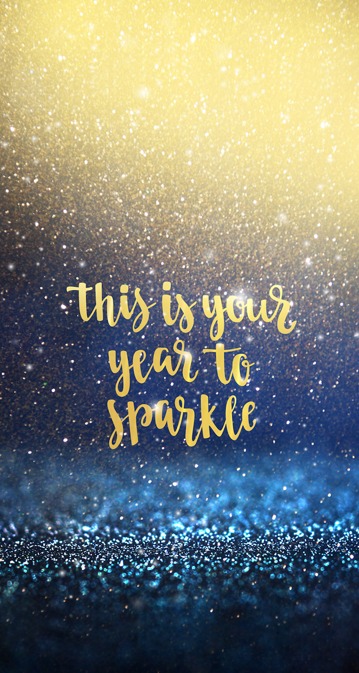 this is your year to sparkle, wallpapers and backgrounds, gold text written over gold and blue background with falling glitter