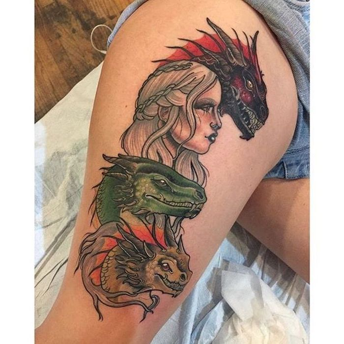 daenerys targaryen with drogon, viserion and rheagal, game of thrones characters, dragon back tattoo, thigh tattoo