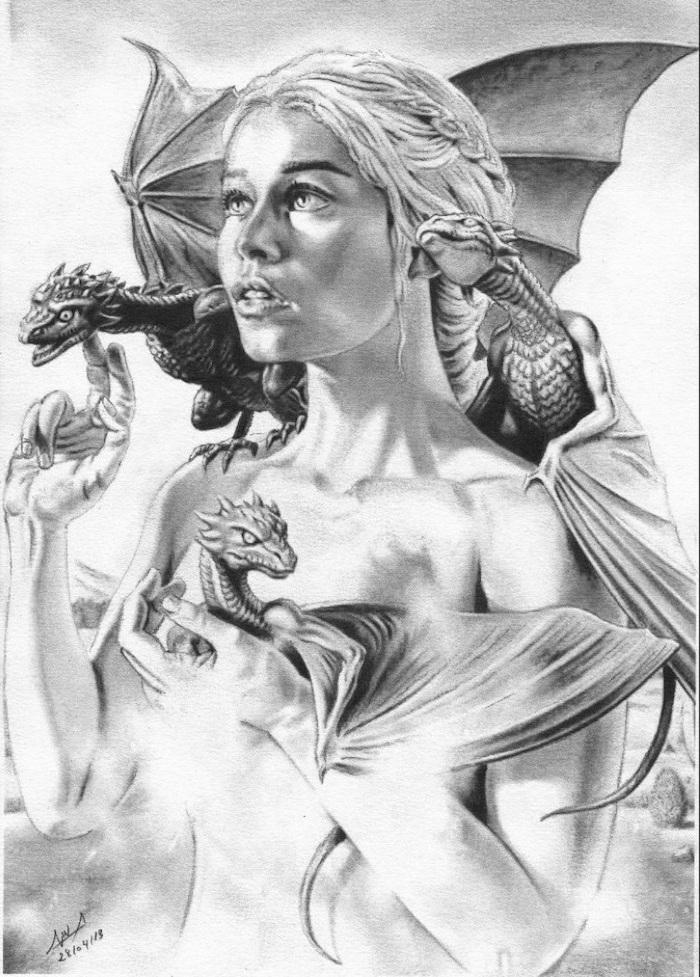 daenerys targaryen with baby drogon, viserion and rheagal, dragon back tattoo, black and white pencil sketch