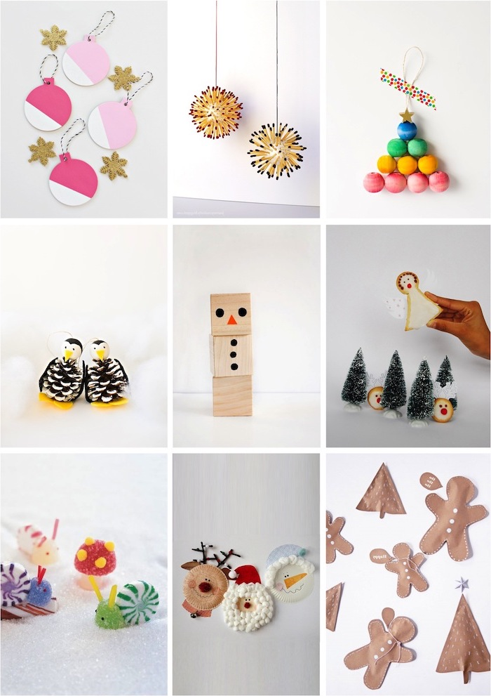 photo collage of different christmas ornaments, christmas crafts for kids, baubles and trees, made with paper and pompoms