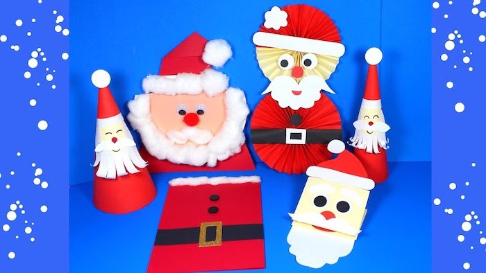santas made of different things, painted in red with white cotton balls for beards, christmas activities for preschoolers