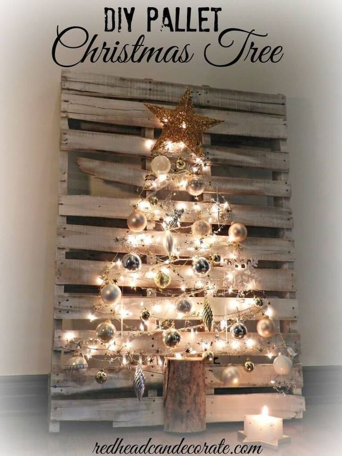 diy pallet christmas tree, step by step diy tutorial, christmas tree decorating ideas, pallet tree with lights and silver ornaments