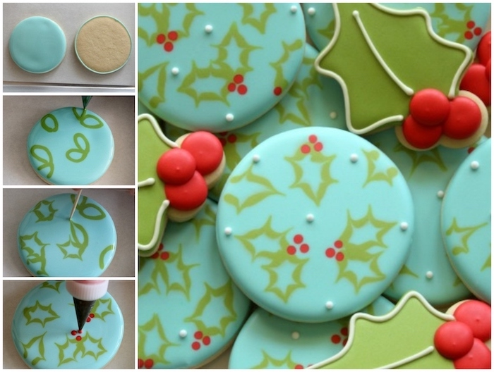 step by step diy tutorial, how to decorate sugar cookies, using green and blue icing, mistletoe decorations