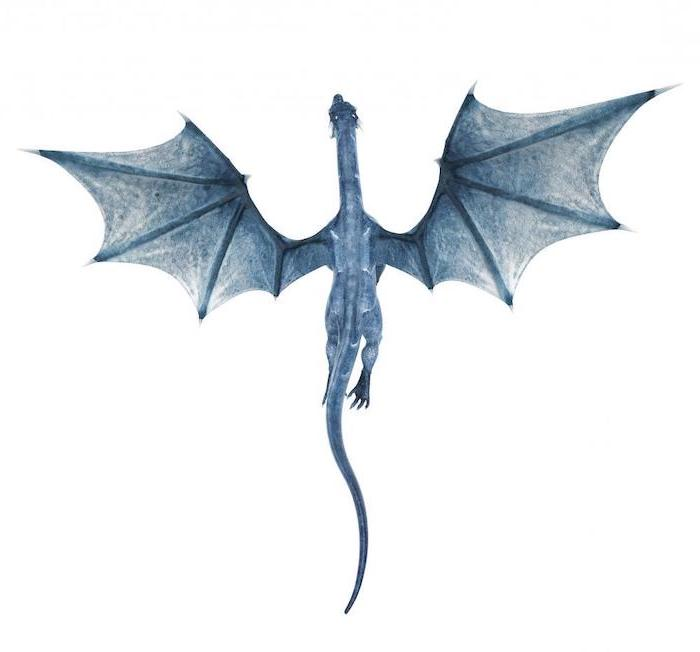 blue dragon viserion flying, game of thrones character, japanese tattoo meanings, white background