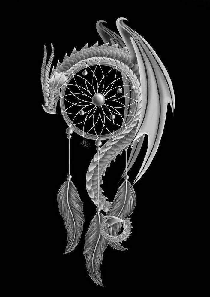 black background, chinese dragon tattoo, large dragon, hanging over dreamcatcher, black and white drawing