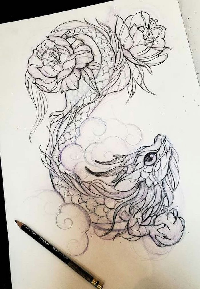 baby dragon with peony flowers, black and white pencil sketch, small dragon tattoos, white background