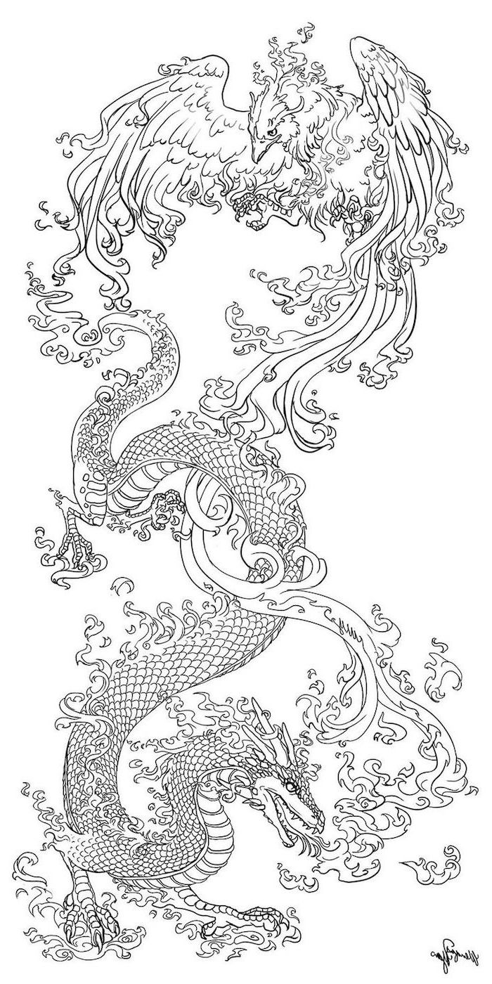 dragon fighting a phoenix, small dragon tattoos, black and white pencil sketch, white background