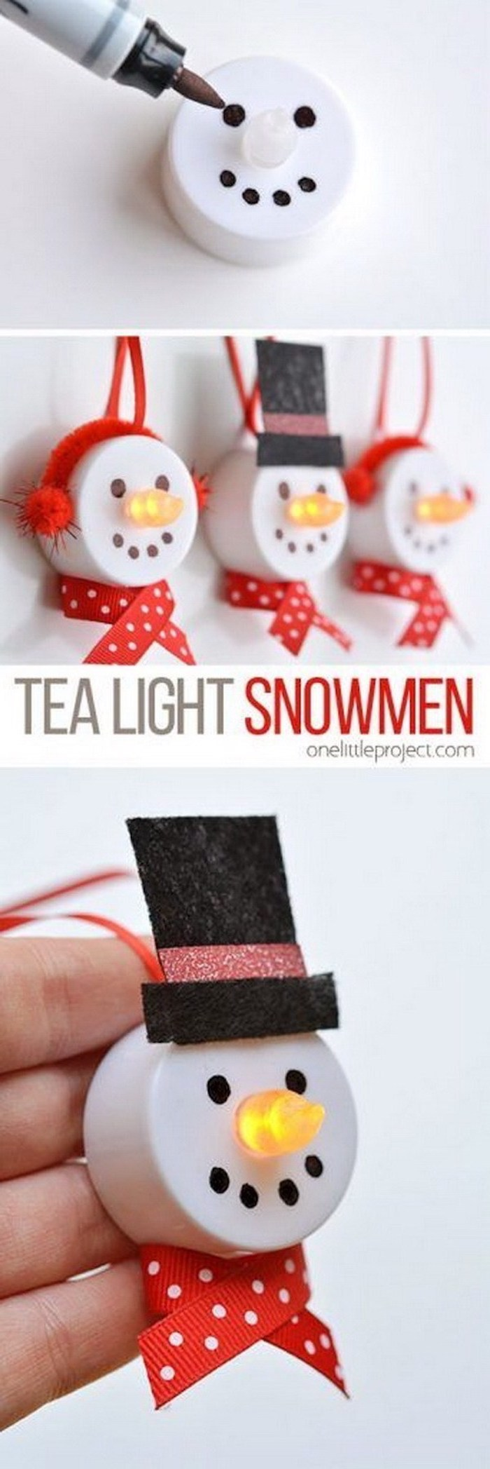 tea light snowmen, christmas activities for preschoolers, photo collage of step by step diy tutorial