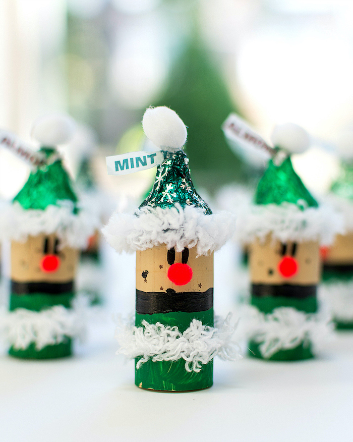 elved made of wine corks, mint hershey's kisses for hats, christmas activities for preschoolers, white pompoms on top